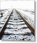 Railroad In Snow Metal Print