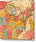Railroad Map Of The United States 1852 Metal Print