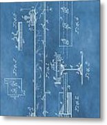 Railroad Tie Patent On Blue Metal Print