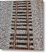 Railroad Track With Gravel Bed Metal Print