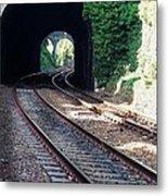 Railroad Tracks At Conway Castle, Wales  Metal Print