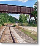Railroad Train Tracks And Trestle Metal Print