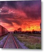 Rails To A Red Sunset Metal Print