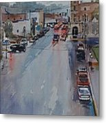 Rain At Rush Hour Fairfield Il Metal Print