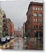 Rain On Water Street 1 Metal Print