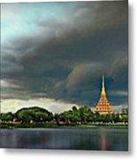 Rain Storm Lake View Metal Print