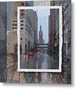 Rain Water Street W City Hall Metal Print