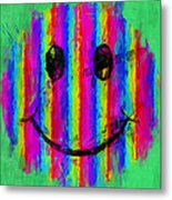 Rainbow Abstract Smiley Face Metal Print