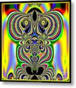 Rainbow Alien Owls Fractal 57 Metal Print
