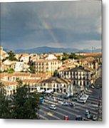 Rainbow And Ancient Aqueduct Metal Print by Viacheslav Savitskiy