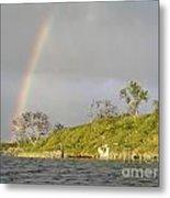 Rainbow And Lake Metal Print
