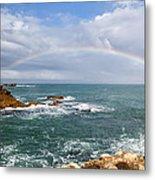 Rainbow Over Cape Dombey Obelisk Metal Print