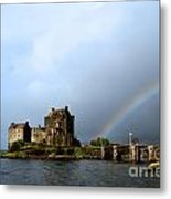 Rainbow At Eilean Donan Metal Print