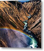 Rainbow At The Grand Canyon Yellowstone National Park Metal Print