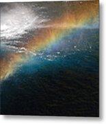 Rainbow At Waterfall Base Metal Print