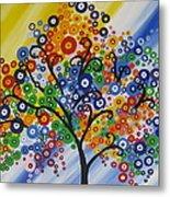 Rainbow Bubble Tree Metal Print