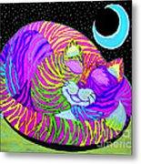 Rainbow Cat Blue Moon Metal Print