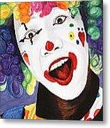 Rainbow Clown Metal Print
