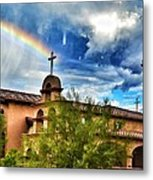 Rainbow Cross Church Metal Print