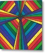 Rainbow Cross Metal Print