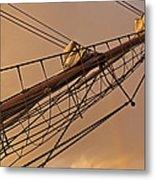 Tall Ship Meets Rainbow Metal Print