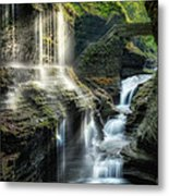 Rainbow Falls Square Metal Print