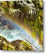 Rainbow In Avalanche Creek Canyon In Glacier National Park-montana Metal Print