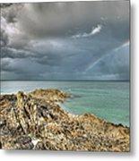 Rainbow In Storm Clouds Pointe De Saint Cast  Metal Print