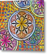 Rainbow Mosaic Circles And Flowers Metal Print