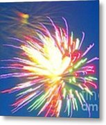 Rainbow Of Color Abstract Fireworks Metal Print