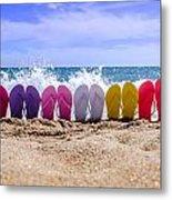 Rainbow Of Flip Flops On The Beach Metal Print