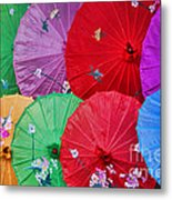 Rainbow Of Parasols   Metal Print by Alexandra Jordankova