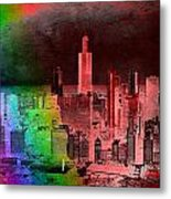 Rainbow On Chicago Mixed Media Textured Metal Print