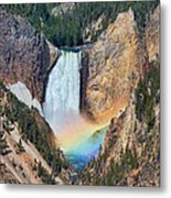 Rainbow On The Lower Falls Yellowstone National Park Metal Print