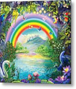 Backgraund Rainbow On Varshana  Metal Print by Lila Shravani