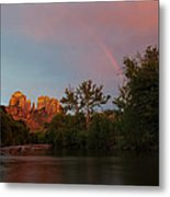 Rainbow Over Cathedral Rocks Metal Print