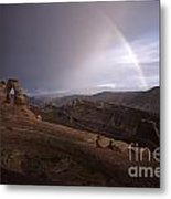 Rainbow Over Delicate Arch Metal Print