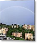 rainbow over Genova Metal Print