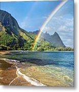 Rainbow Over Haena Beach Metal Print