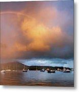 Rainbow Over Harbor At Sunset, Portree Metal Print