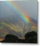 Rainbow Over Maui Mountains Metal Print