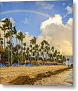 Rainbow Over The Beach Metal Print