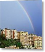 Rainbow Over The Town Metal Print
