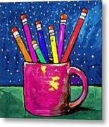 Rainbow Pencils In A Cup Metal Print