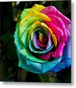Rainbow Rose Metal Print