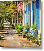 Rainbow Row Sidewalk Metal Print