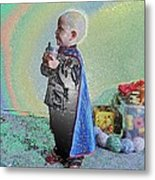 Rainbow Sherbet Little Ninja Boy Metal Print