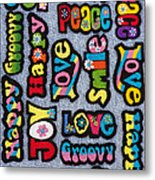 Rainbow Text Metal Print