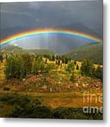 Rainbow Through The Forest Metal Print