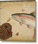 Rainbow Trout-basket Weave Metal Print